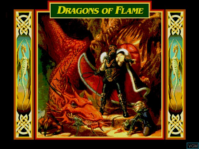 Title screen of the game Dragons of Flame on Fujitsu FM Towns