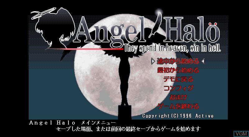Menu screen of the game Angel on Fujitsu FM Towns
