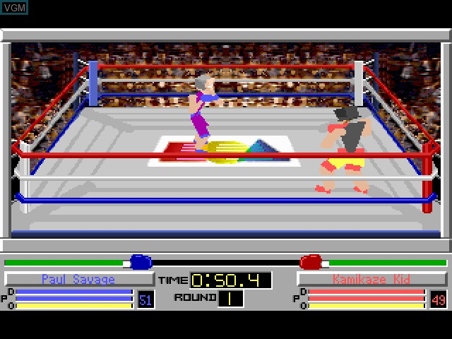In-game screen of the game 4D Boxing on Fujitsu FM Towns