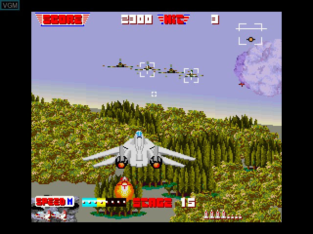 In-game screen of the game After Burner on Fujitsu FM Towns
