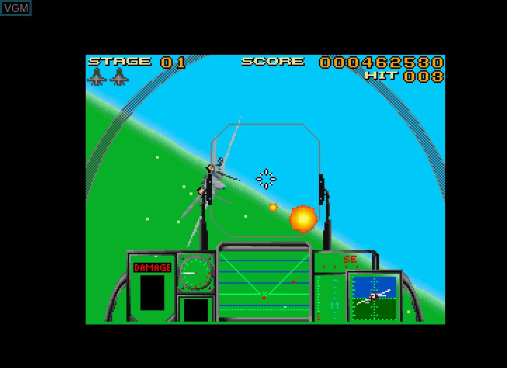 In-game screen of the game After Burner III on Fujitsu FM Towns
