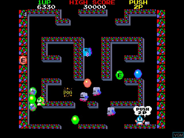 In-game screen of the game Bubble Bobble on Fujitsu FM Towns