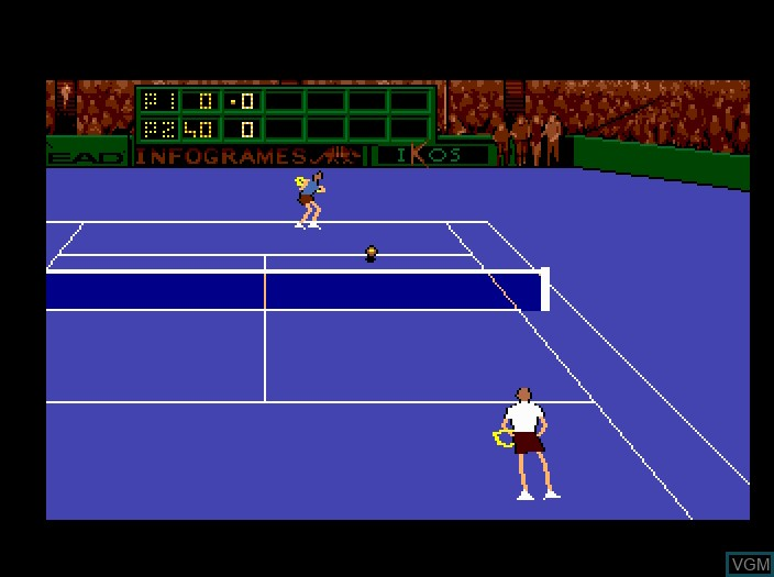 In-game screen of the game Advantage Tennis on Fujitsu FM Towns
