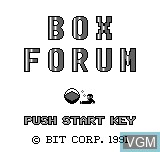 Title screen of the game Box Forum on Bit Corporation Gamate