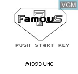 Title screen of the game Famous 7 on Bit Corporation Gamate