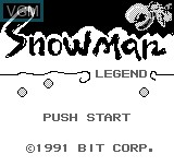 Title screen of the game Snowman Legend on Bit Corporation Gamate
