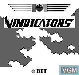 Title screen of the game Vindicators on Bit Corporation Gamate