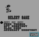 Menu screen of the game Basketball on Bit Corporation Gamate