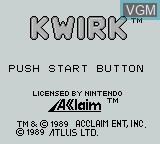 Title screen of the game Kwirk on Nintendo Game Boy