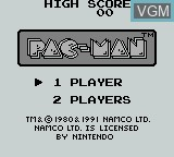 Title screen of the game Pac-Man on Nintendo Game Boy