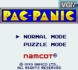 Title screen of the game Pac-Panic on Nintendo Game Boy