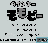 Title screen of the game Painter Momo Pie on Nintendo Game Boy