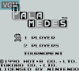 Title screen of the game Palamedes on Nintendo Game Boy