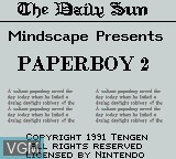 Title screen of the game Paperboy 2 on Nintendo Game Boy