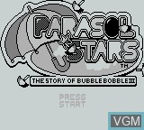 Title screen of the game Parasol Stars on Nintendo Game Boy