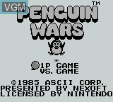 Title screen of the game Penguin Wars on Nintendo Game Boy