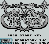 Title screen of the game Pinball - Revenge of the Gator on Nintendo Game Boy
