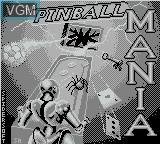 Title screen of the game Pinball Mania on Nintendo Game Boy