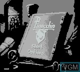 Title screen of the game Pinocchio on Nintendo Game Boy