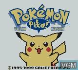 Title screen of the game Pokemon - Yellow Version on Nintendo Game Boy