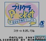 Title screen of the game Purikura Pocket - Fukanzen Joshikousei Manual on Nintendo Game Boy