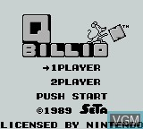 Title screen of the game Q Billion on Nintendo Game Boy