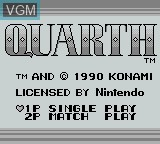 Title screen of the game Quarth on Nintendo Game Boy