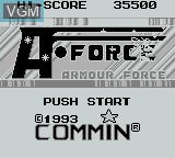 Title screen of the game A-Force on Nintendo Game Boy
