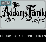 Title screen of the game Addams Family, The on Nintendo Game Boy