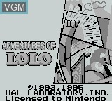 Title screen of the game Adventures of Lolo on Nintendo Game Boy