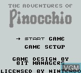 Title screen of the game Adventures of Pinocchio, The on Nintendo Game Boy