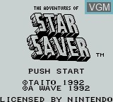 Title screen of the game Adventures of Star Saver, The on Nintendo Game Boy