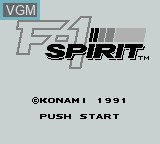 Title screen of the game F-1 Spirit on Nintendo Game Boy