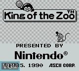 Title screen of the game King of the Zoo on Nintendo Game Boy