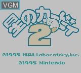 Title screen of the game Kirby 2 - Hoshinoka 2 on Nintendo Game Boy