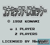 Title screen of the game Konami Ice Hockey on Nintendo Game Boy