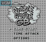 Title screen of the game Puzzle Bobble GB on Nintendo Game Boy