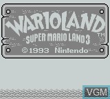 Title screen of the game Wario Land - Super Mario Land 3 on Nintendo Game Boy