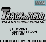 Title screen of the game Track & Field on Nintendo Game Boy