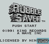 Title screen of the game Rubble Saver on Nintendo Game Boy