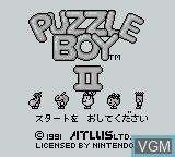 Title screen of the game Puzzle Boy II on Nintendo Game Boy