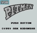 Title screen of the game Pitman on Nintendo Game Boy