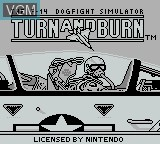 Title screen of the game Turn and Burn on Nintendo Game Boy