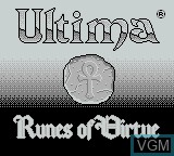 Title screen of the game Ultima - Runes of Virtue on Nintendo Game Boy