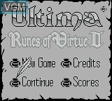 Title screen of the game Ultima - Runes of Virtue II on Nintendo Game Boy