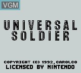 Title screen of the game Universal Soldier on Nintendo Game Boy