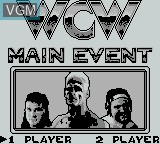 Title screen of the game WCW Main Event on Nintendo Game Boy