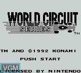Title screen of the game World Circuit Series on Nintendo Game Boy