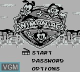 Title screen of the game Animaniacs on Nintendo Game Boy