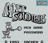 Title screen of the game Ant Soldiers on Nintendo Game Boy
